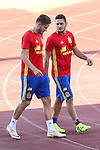 Spanish player Saul Iniguez and Koke Resurrecccion durign the first training of the concentration of Spanish football team at Ciudad del Futbol de Las Rozas before the qualifying for the Russia world cup in 2017 August 29, 2016. (ALTERPHOTOS/Rodrigo Jimenez)