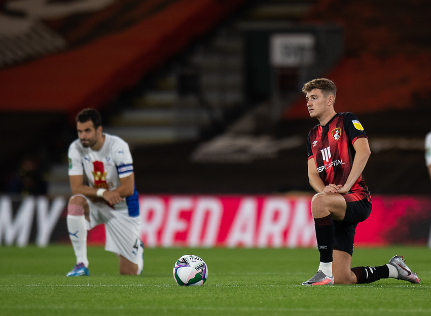 Bournemouth's David Brooks (right) takes the knee fo BLM<br /> <br /> Photographer David Horton/CameraSport<br /> <br /> Carabao Cup Second Round Southern Section - Bournemouth v Crystal Palace - Tuesday 15th September 2020 - Vitality Stadium - Bournemouth<br />  <br /> World Copyright © 2020 CameraSport. All rights reserved. 43 Linden Ave. Countesthorpe. Leicester. England. LE8 5PG - Tel: +44 (0) 116 277 4147 - admin@camerasport.com - www.camerasport.com