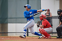 Toronto Blue Jays catcher Yorman Rodriguez (50) follows through on a swing during an Instructional League game against the Philadelphia Phillies on September 30, 2017 at the Carpenter Complex in Clearwater, Florida.  (Mike Janes/Four Seam Images)