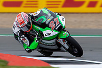 27th August 2021; Silverstone Circuit, Silverstone, Northamptonshire, England; MotoGP British Grand Prix, Practice Day; CIP Green Power rider Kaito Toba on his KTM RC250GP in the Moto3 category