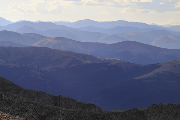 Front Range mountains from the slopes of Mount Evans (14250 feet) in the Rocky Mountains west of Denver, Colorado. Wildlife  photo tours to Mt Evans.
