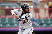 Akron RubberDucks Nellie Rodriguez (12) at bat during an Eastern League game against the Erie SeaWolves on June 2, 2019 at UPMC Park in Erie, Pennsylvania.  Akron defeated Erie 7-2 in the first game of a doubleheader.  (Mike Janes/Four Seam Images)