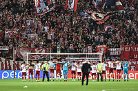 Players of Olympiakos celebrate their victory (4-0) with fans during the UEFA Champions League playoff first leg soccer match between Olympiakos and Krasnodar at Karaiskaki stadium in Piraeus, Greece, on 21 August 2019