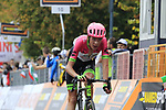 Hugh Carthy (GBR) EF--Drapac-Cannondale crosses the finish line at the end of the 99th edition of Milan-Turin 2018, running 200km from Magenta Milan to Superga Basilica Turin, Italy. 10th October 2018.<br /> Picture: Eoin Clarke | Cyclefile<br /> <br /> <br /> All photos usage must carry mandatory copyright credit (© Cyclefile | Eoin Clarke)