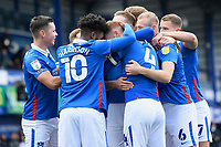 Portsmouth players mob goalscorer Tom Naylor of Portsmouth centre during Portsmouth vs MK Dons, Sky Bet EFL League 1 Football at Fratton Park on 10th October 2020