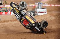 Dec. 10, 2010; Chandler, AZ, USA;  LOORRS pro two unlimited driver Greg Adler flips over during qualifying for round 15 at Firebird International Raceway. Mandatory Credit: Mark J. Rebilas-US PRESSWIRE