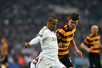 Pictured:  Wayne Routledge (L). Sunday 24 February 2013<br /> Re: Capital One Cup football final, Swansea v Bradford at the Wembley Stadium in London.