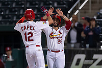 Springfield Cardinals Chris Chinea (26) congratulates Conner Capel (12) for hitting a home run during a Texas League game against the Amarillo Sod Poodles on April 25, 2019 at Hammons Field in Springfield, Missouri. Springfield defeated Amarillo 8-0. (Zachary Lucy/Four Seam Images)