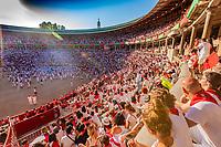 Europe,Spain,Pamplona,San Firmin festival 2018, Encierro,  the end in the plaza de Toros
