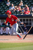Springfield Cardinals infielder Evan Mendoza (4) takes off for first on May 19, 2019, at Arvest Ballpark in Springdale, Arkansas. (Jason Ivester/Four Seam Images)