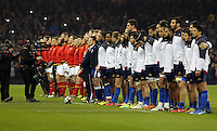 Wales and France players line up before the Wales v France, 2016 RBS 6 Nations Championship, at the Principality Stadium, Cardiff, Wales, UK