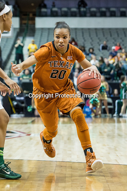 guard Brianna Taylor (20) in action during Big 12 women's basketball championship final, Sunday, March 08, 2015 in Dallas, Tex. (Dan Wozniak/TFV Media via AP Images)