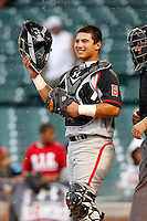 Catcher Jeremy Martinez #6 of Mater Dei High School in Santa Ana, California during the Under Armour All-American Game at Wrigley Field on August 13, 2011 in Chicago, Illinois.  (Mike Janes/Four Seam Images)