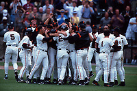SAN FRANCISCO, CA:  Jeff Kent of the San Francisco Giants celebrates with his teammates after hitting a game-winning double in the bottom of the 9th inning during the game against the Colorado Rockies at Pacific Bell Park in San Francisco, California on July 6, 2000. (Photo by Brad Mangin)