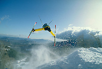 Moguls Aerial practice on Whiteface Mountain. Lake Placid New York United States Adirondacks.