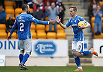 St Johnstone v Partick Thistle....17.10.15  SPFL     McDiarmid Park, Perth<br /> Steven MacLean celebrates his goal with Dave Mackay<br /> Picture by Graeme Hart.<br /> Copyright Perthshire Picture Agency<br /> Tel: 01738 623350  Mobile: 07990 594431