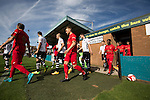 Marine 3 Ilkeston FC 1, 19/09/2015. The Mersey Travel Arena, Northern Premier League. The two teams emerging from the dressing rooms at the Mersey Travel Arena, home to Marine Football Club (in white), pictured before they played host to Ilkeston FC in a Northern Premier League premier division match. The match was won by the home side by 3 goals to 1 and was watched by a crowd of 398. Marine are baed in Crosby, Merseyside and have played at Rossett Park (now the Mersey Travel Arena)  since 1903, the club having been formed in 1894.  Photo by Colin McPherson.