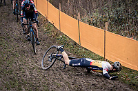 Slippery Slope resulting in Daan Soete (BEL/Hens-Maes) crashing on the descent<br /> <br /> Superprestige Boom (BEL) 2020<br /> Men's Race<br /> <br /> ©kramon