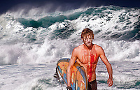 Injured surfer with huge surf in the background atBanzai Pipeline onNorth Shore of Oahu.