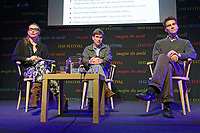 Pictured: Helena Sanson, Bill Byrne and Marcus Tomalin from University of Cambridge.<br /> Re: Hay Festival at Hay on Wye, Powys, Wales, UK. Friday 25 May 2018