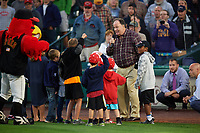 "Rochester Red Wings special guest, actor Dennis Haskins who portrayed High School Principal Richard Belding on the hit TV series ""Saved by the Bell"", leads Take Me Out to the Ballgame with children from the stands for the seventh inning stretch during the first game of a doubleheader against the Scranton/Wilkes-Barre RailRiders on August 23, 2017 at Frontier Field in Rochester, New York.  Rochester defeated Scranton 5-4 in a game that was originally started on August 22nd but was postponed due to inclement weather.  (Mike Janes/Four Seam Images)"