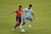 KANSAS CITY, KS - SEPTEMBER 02: Jesus Ferreira #7 of FC Dallas tassles with Jaylin Lindsey #26 of Sporting Kansas City during a game between FC Dallas and Sporting Kansas City at Children's Mercy Park on September 02, 2020 in Kansas City, Kansas.