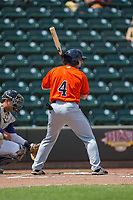 Ryne Birk (4) of the Buies Creek Astros at bat against the Winston-Salem Dash at BB&T Ballpark on April 16, 2017 in Winston-Salem, North Carolina.  The Dash defeated the Astros 6-2.  (Brian Westerholt/Four Seam Images)