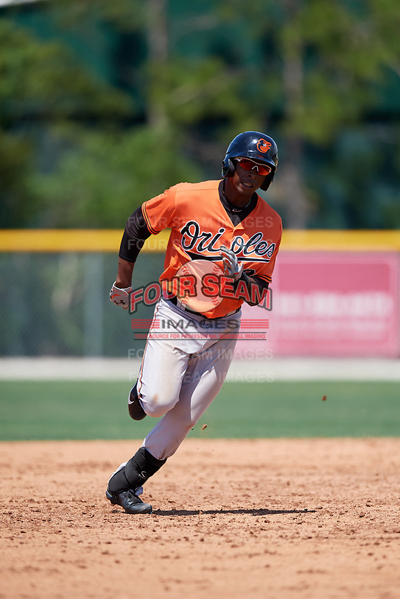 Baltimore Orioles Gerrion Grim (98) runs the bases during a minor league Spring Training game against the Tampa Bay Rays on March 29, 2017 at the Buck O'Neil Baseball Complex in Sarasota, Florida.  (Mike Janes/Four Seam Images)
