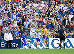 Tommy Ryan of Waterford celebrates a goal against Clare during their Munster  championship round robin game at Cusack Park Photograph by John Kelly.