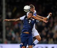 GENOVA, ITALY - February 29, 2012: Danny Williams (l, USA), during the friendly match, Italy against USA at the Stadium Luigi Ferraris in Genova, Italy.