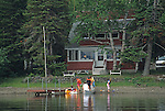 A group of people on the shore of Madawaska Lake, T16 R4 WELS, Maine, USA