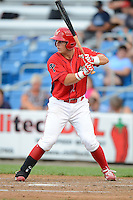 Williamsport Crosscutters first baseman Logan Pierce #25 during a game against the Auburn Doubledays on July 8, 2013 at Bowman Field in Williamsport, Pennsylvania.  Auburn defeated Williamsport 5-1.  (Mike Janes/Four Seam Images)