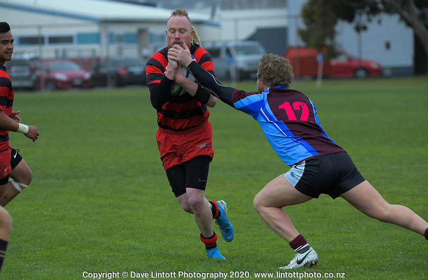 Action from the NZ Barbarians Under-85kg club rugby union quarterfinal between Poneke and Avalon at Evan's Bay Park in Wellington, New Zealand on Saturday, 17 October 2020. Photo: Dave Lintott / lintottphoto.co.nz