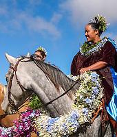 Pa'u riders before start of the Waimea Paniolo Parade, Big Island.