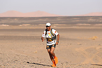 5th October 2021; Kourci Dial Zaid to Jebel El Mraier ; Abdelkader EL MOUAZIZ (mar) Marathon des Sables, stage 3 of  a six-day, 251 km ultramarathon, which is approximately the distance of six regular marathons. The longest single stage is 91 km long. This multiday race is held every year in southern Morocco, in the Sahara Desert.