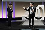 French director François Ozon (R) receives the Best Script award of the 60th San Sebastian International Film Festival for his film 'Dans La Maison' (In the House) next to Spanish author Juan Mallorga (L) during the Awards Gala in the 60th San Sebastian Donostia International Film Festival - Zinemaldia.September 29,2012.(ALTERPHOTOS/ALFAQUI/Acero)