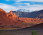 Grand County, UT<br /> View of Fisher Towers and La Sal Mountains in the distance in afternoon light.
