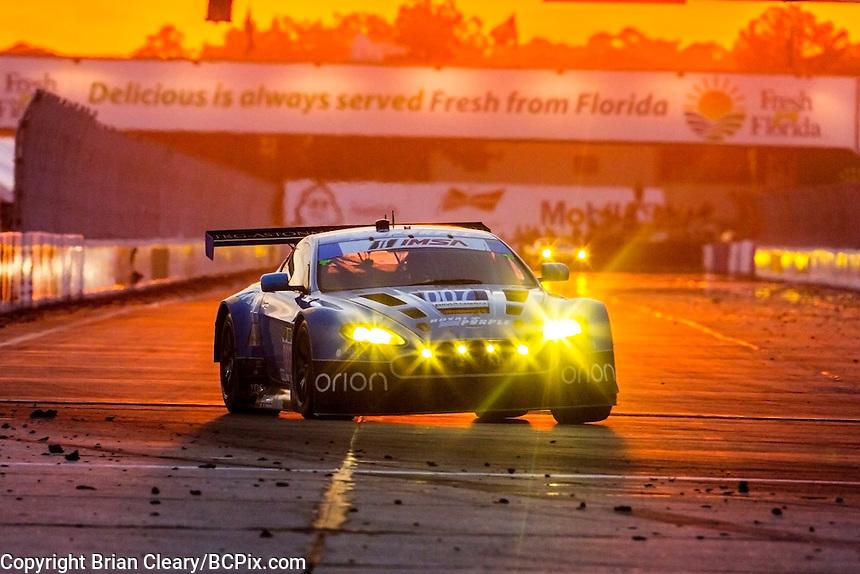 Sunset, #007 Aston Martin, Brandon Davis, James Davison, Christina Nielsen 12 Hours of Sebring, Sebring International Raceway, Sebring, FL, March 2015.  (Photo by Brian Cleary/ www.bcpix.com )