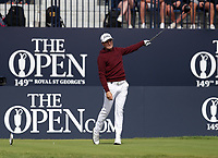 16th July 2021; Royal St Georges Golf Club, Sandwich, Kent, England; The Open Championship Tour Golf, Day Two; Justin Thomas (USA) signals the direction of his drive from the 1st tee