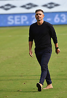 KANSAS CITY, KS - SEPTEMBER 19: FC Dallas coach Luchi Gonzalez leaves the field at the end of the match during a game between FC Dallas and Sporting Kansas City at Children's Mercy Park on September 19, 2020 in Kansas City, Kansas.
