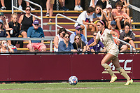 NEWTON, MA - SEPTEMBER 12: Haley Thomas #3 of Boston College brings the ball forward during a game between Holy Cross and Boston College at Newton Campus Soccer Field on September 12, 2021 in Newton, Massachusetts.