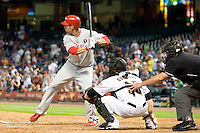 Philadelphia Phillies pinch hitter Ross Gload #7 at bat in the ninth inning of the Major League Baseball game against the Houston Astros at Minute Maid Park in Houston, Texas on September 12, 2011. Houston defeated Philadelphia 5-1.  (Andrew Woolley/Four Seam Images)