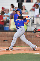 Kingsport Mets third baseman Luis Ortega (24) swings at a pitch during a game against the  Johnson City Cardinals on June 25, 2015 in Johnson City, Tennessee. The Mets defeated the Cardinals 10-8 (Tony Farlow/Four Seam Images)