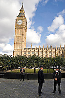 Armed Police officers on duty outside Houses of Parliament London UK. This image may only be used to portray the subject in a positive manner..©shoutpictures.com..john@shoutpictures.com