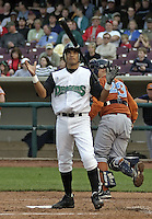 April 20, 2004:  Luis Bolivar of the Dayton Dragons, Midwest League (A) affiliate of the Cincinnati Reds, during a game at Fifth Third Field in Dayton, OH.  Photo by:  Mike Janes/Four Seam Images