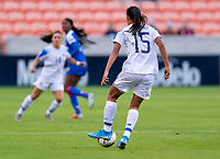HOUSTON, TX - JANUARY 31: Stephannie Blanco #15 of Costa Rica carries the ball upfield during a game between Haiti and Costa Rica at BBVA Stadium on January 31, 2020 in Houston, Texas.