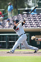 Matt Jones (16) of the Visalia Rawhide bats against the Inland Empire 66ers at San Manuel Stadium on June 5, 2017 in San Bernardino, California. Visalia defeated Inland Empire, 9-1. (Larry Goren/Four Seam Images)