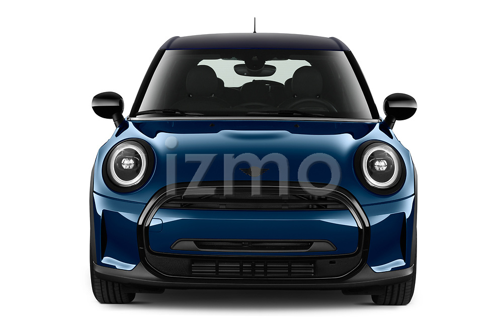Car photography straight front view of a 2021 MINI MINI Cooper-Yours 5 Door Hatchback Front View