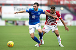 Hamilton Accies v St Johnstone…01.09.18…   New Douglas Park     SPFL<br />Drey Wright holds off Tom Taiwo<br />Picture by Graeme Hart. <br />Copyright Perthshire Picture Agency<br />Tel: 01738 623350  Mobile: 07990 594431