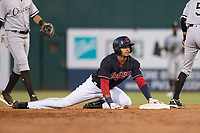 AZL Indians 1 right fielder Johnathan Rodriguez (30) slides into second base during an Arizona League game against the AZL White Sox at Goodyear Ballpark on June 20, 2018 in Goodyear, Arizona. AZL Indians 1 defeated AZL White Sox 8-7. (Zachary Lucy/Four Seam Images)